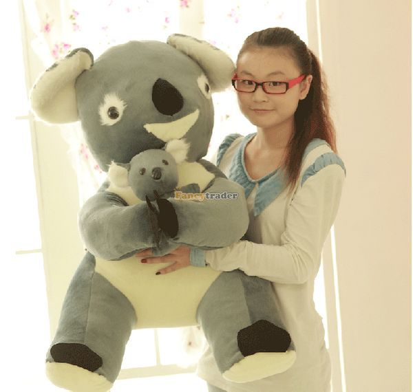 Fancytrader 35'' / 90cm Stuffed Soft Plush Funny Huge Giant Grey Koala Toy, Great Gift For Kids, Free Shipping FT50262 fancytrader 2015 novelty toy 24 61cm giant soft stuffed lovely plush seal toy nice gift for kids free shipping ft50541