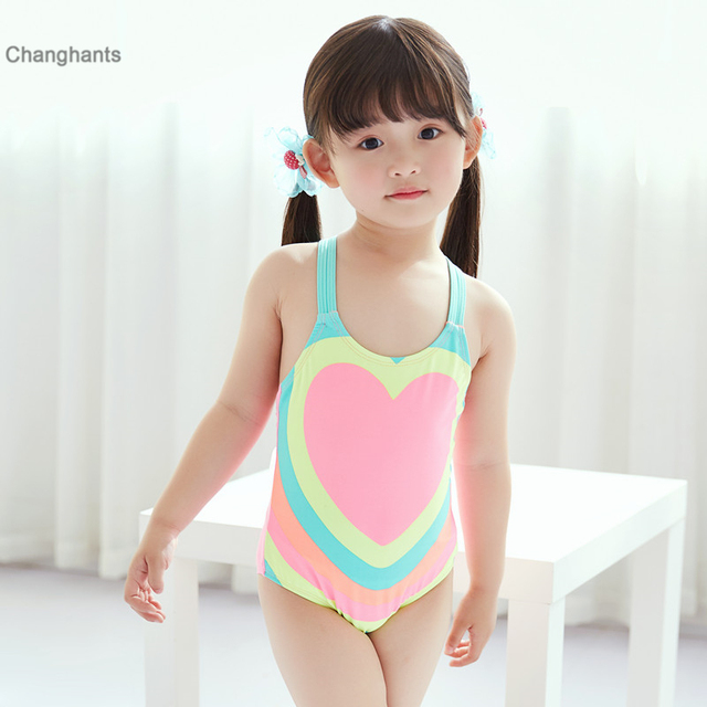 20cdd438ca1 New Models 1-8 year old Baby Girl one piece Swimsuit Children sling swimwear  Girls Multicolor Heart Shaped pattern Swim Wear
