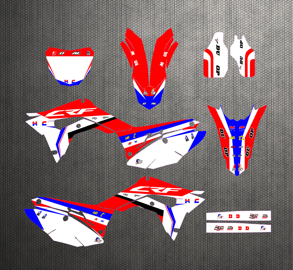 Free Customized Graphics & Background Stickers Kit Decal Red White For Honda CRF 250R CRF250R 2018-2019 CRF450R 2017 2018 2019