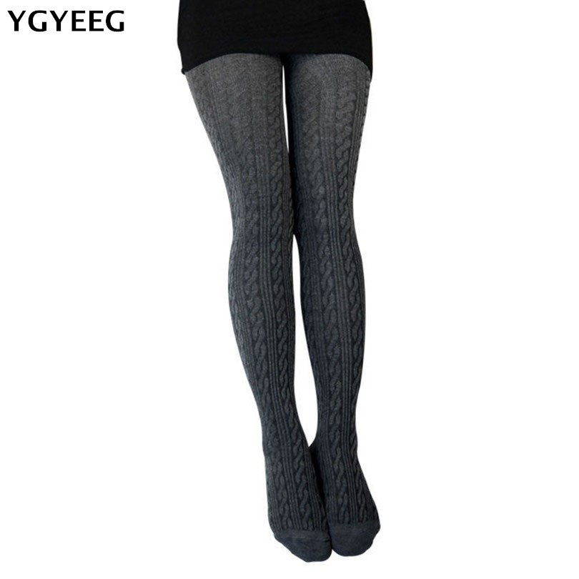 YGYEEG New Spring Autumn Winter Cotton Knitted Stockings 7 Colors Women Warm Twist Striped Tights 2 Designs Pantyhose Female