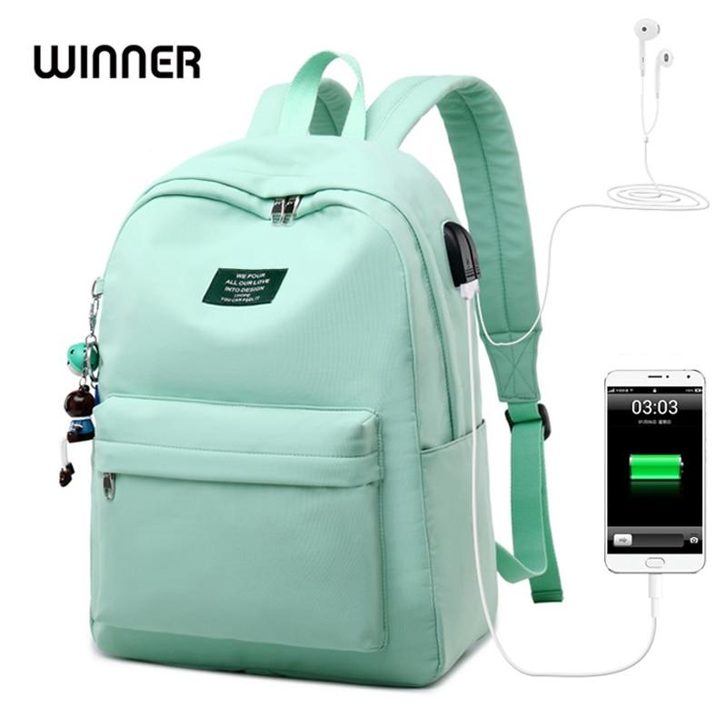 WINNER Solid Color Printing Laptop Backpack For Girls Usb Charging Animal Pendant Children School Bags Female Travel Mochila Bag