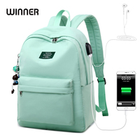 WINNER Solid Color Printing Laptop Backpack for Girls Usb Charging Animal Pendant Children School Bags Female Travel Mochila Bag