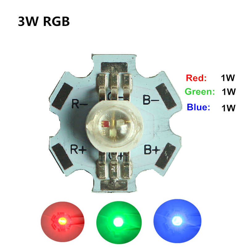 Высокая Мощность Integrated светодиодный чип 1 Вт красный + зеленый + синий 3 Вт RGB SMD COB свет лампы бусинами + 20 мм Star PCB радиатора алюминиевое основание