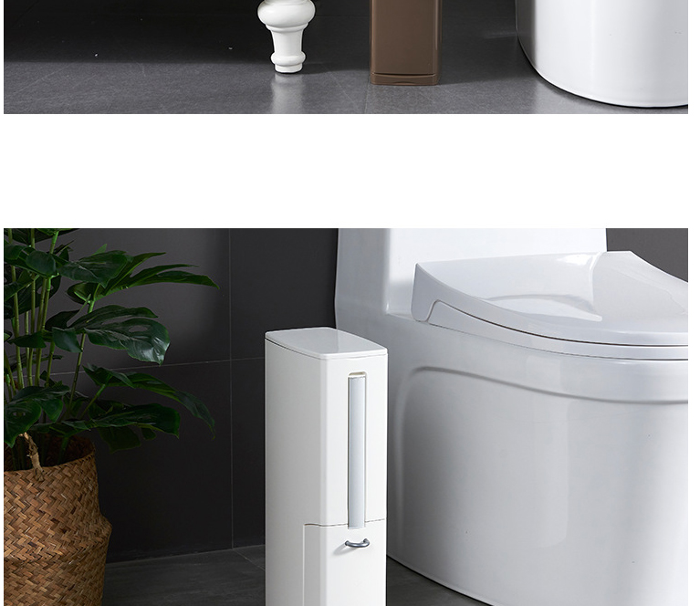 Multi-functional Plastic Trash Can with Toilet Brush Set