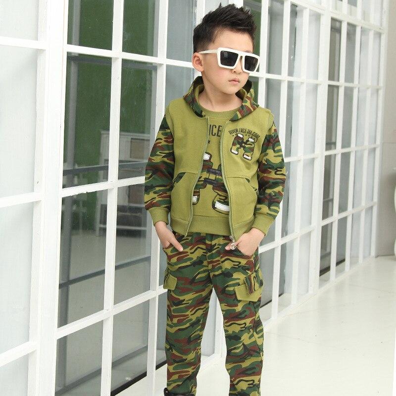 Costume de Camouflage pour enfants sport enfants vêtements ensembles garçon 2018 nouveau printemps automne garçons uniforme trois pièces à capuche t-shirt pantalon