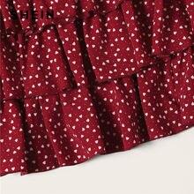 SHEIN Burgundy Heart Print Layered Ruffle Above Knee Skirt Women Summer Elegant Mid Waist  Casual Solid Velvet Mini Skirt