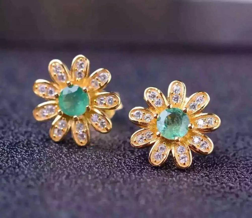 natural green emerald drop earrings 925 silver Natural gemstone earring women elegant Sunflower drop earrings for anniversary
