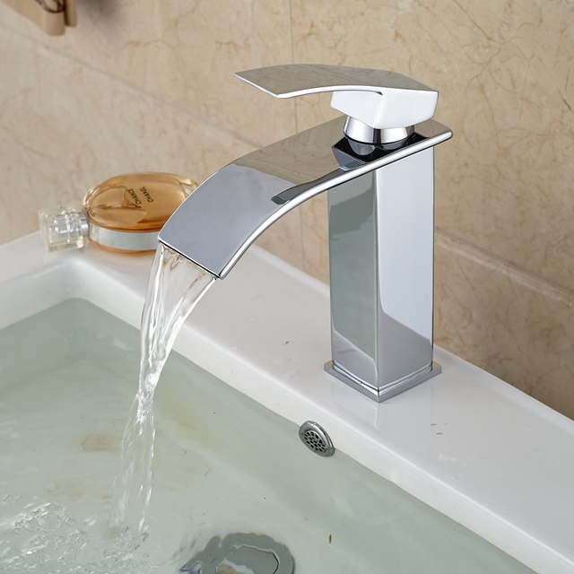 Bathroom Basin Faucet Polished Chrome Brass Waterfall Square Vanity Sink Mixer Tap Promotion sale free shipping