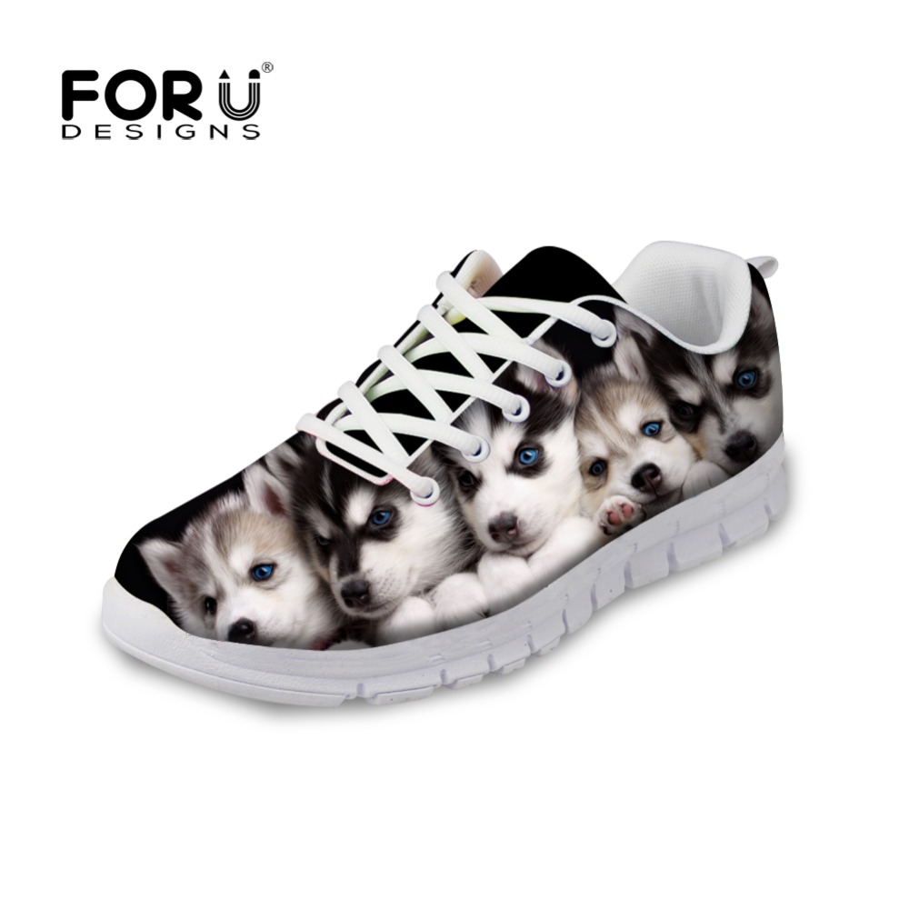 FORUDESIGNS Cute Animal Dog Husky Printed Women's Flats Shoes Lace-up Comfortable Breathable Casual Shoes Woman Flat Shoes Girl forudesigns women casual sneaker cartoon cute nurse printed flats fashion women s summer comfortable breathable girls flat shoes