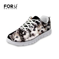 FORUDESIGNS Cute Animal Dog Husky Printed Women's Flats Shoes Lace-up Comfortable Breathable Casual Shoes Woman Flat Shoes Girl