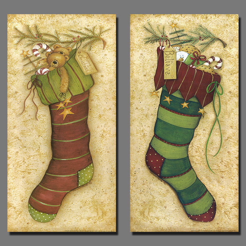 Christmas gift flowers sock picture xmas decoration canvas