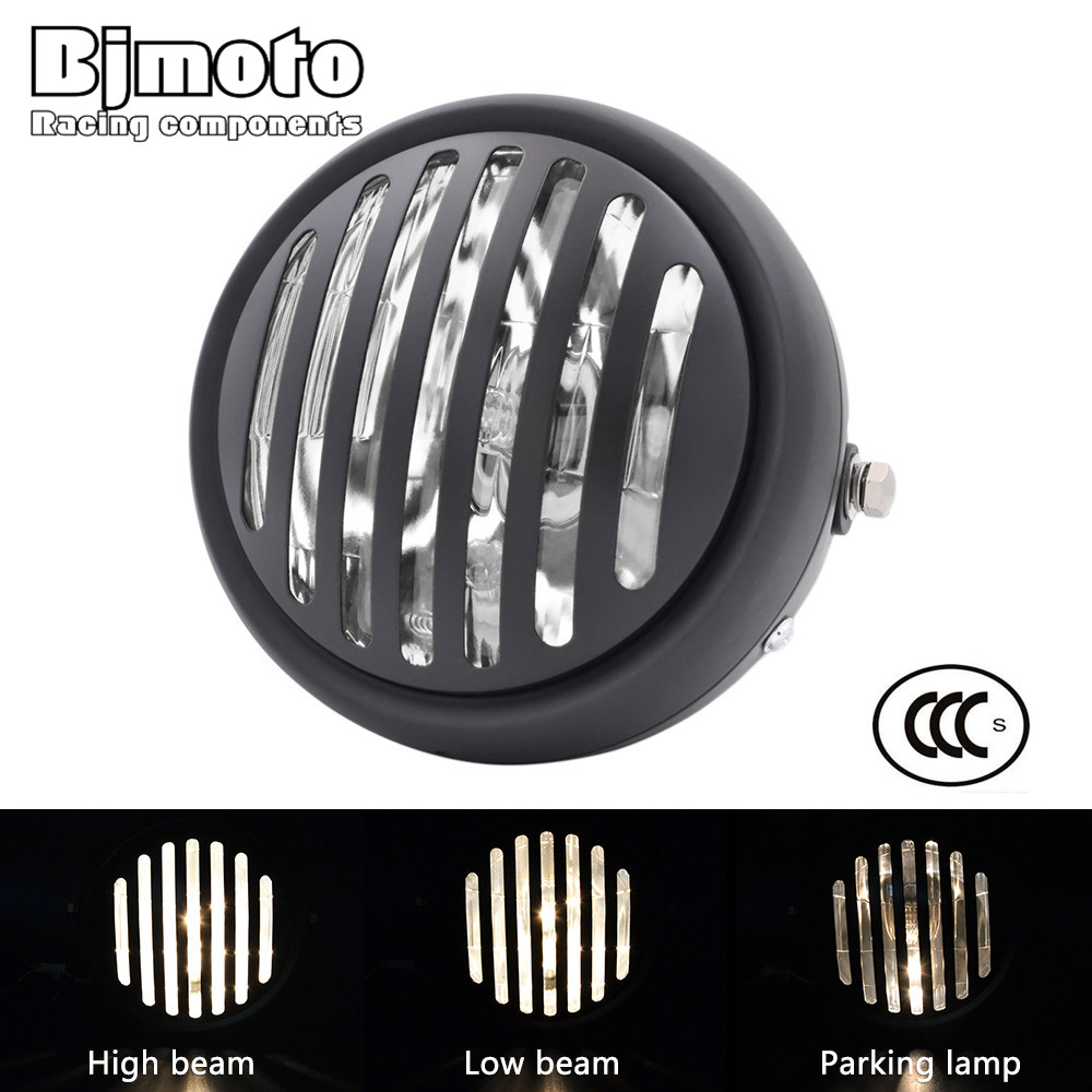 BJMOTO Universal LED 6 1/2 Motorcycle Finned Grill Headlight For Harley Bobber Dyna Cruiser Cafe Racer for Honda Yamaha Suzuki