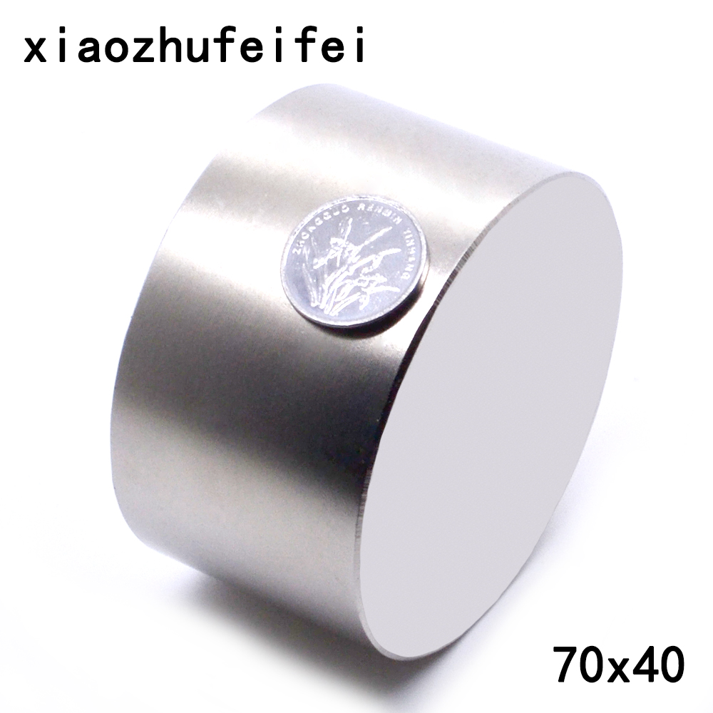 XIAOZHUFEIFEI  1pcs 70mmx40mm Neodymium magnet 70*40mm Round Cylinder Permanent Magnets 70*40 NEW 70x40 mm Art Craft Connection-in Magnetic Materials from Home Improvement