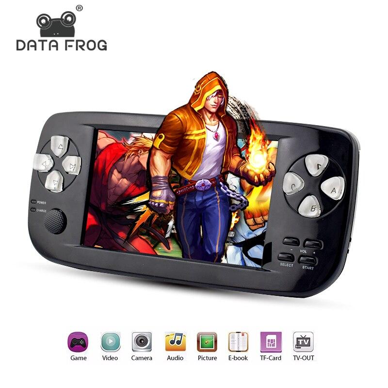 Données Grenouille 4.3 pouce HD Jeu Console 32 Bits Portable Lecteur De Jeu Portable PAP TUER Pour GBC/CP1/ NEO/GEO Format 500 + Intérieur Jeu