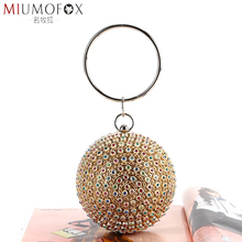 New Women Evening Clutch Bags Colorful Crystal Diamonds Round Ball Shaped Clutches Lady Handbag Wedding Purse Chain Shoulder Bag full beaded women vintage evening bags imitation pearl shell shaped women bag shoulder bags diamonds clutch bag for wedding