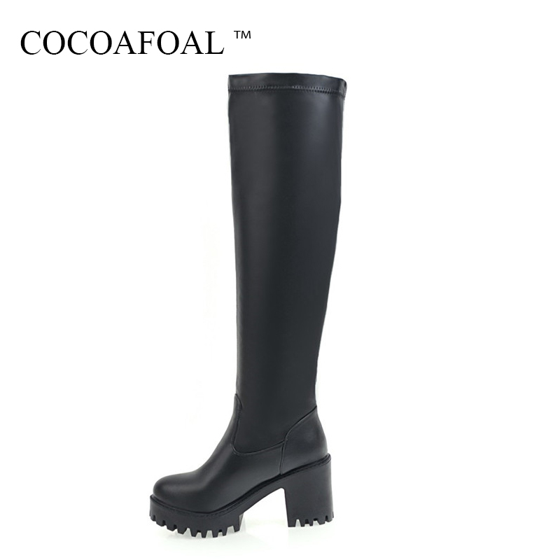 COCOAFOAL Women's Black Round Toe Knee High Boots Autumn Winter White Woman High Heel Shoes Sexy Platform Knee High Boots 2018 cocoafoal woman genuine leather ankle boots autumn winter 9 cm high heel shoes black apricot fashion sexy pointed toe boots 2018