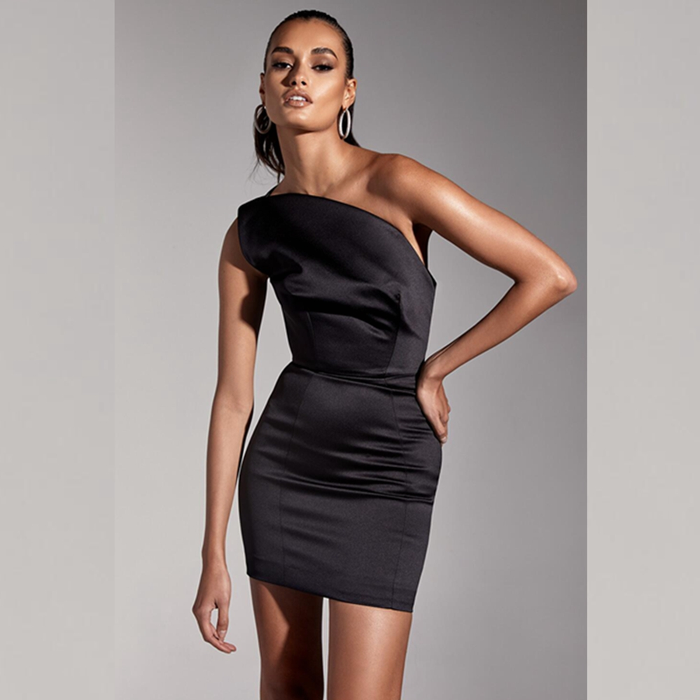 e84621410a9d Mini Di Solido Nero Sexy 2019 Partito Notte Moda All ingrosso Clubwear Il  Una Backless Causale Estate Del Spalla Chic Abito Elegante ...