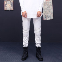 Men Biker Jeans Ripped Denim Slim Fit Jean Pants Crease Designer Hip Hop Skinny Jeans With Mens Trousers Dropshipping