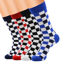 HIMEALAVO 12 Pairs Korea Harajuku Trends Male Checkerboard Style Socks Cotton