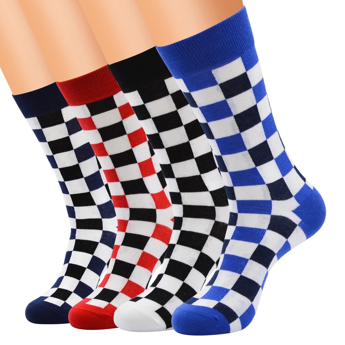 12 Pairs Korea Fashion Harajuku Trends Male Checkerboard Socks Style Geometric Checkered Socks Men Hip Hop Cotton Unisex Soks