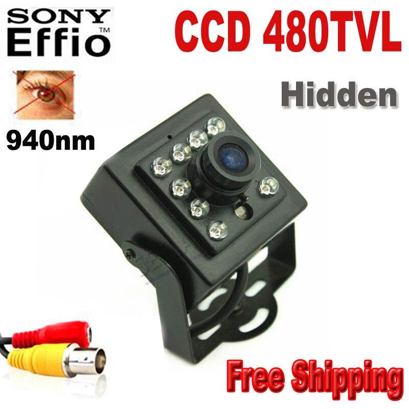 ФОТО 480TVL CCD Mini CCD CAMERA Invisible 10pcs IR 940NM 0 lux Night Vision camera CCTV mini Camera with 1/3