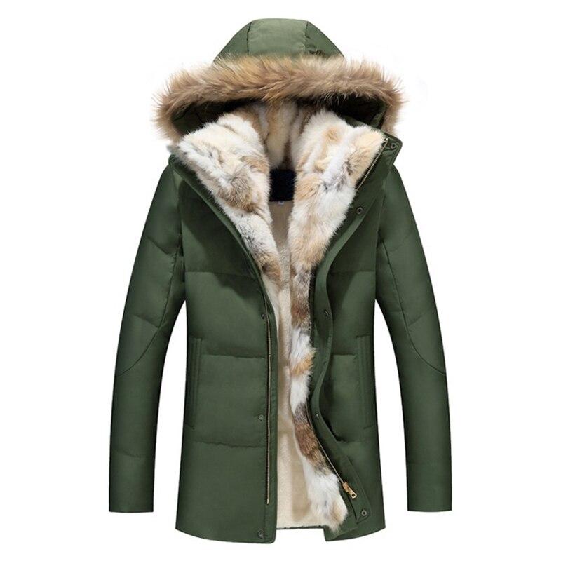 2017 Thick Down Men Winter Jackets Mens Duck Down Coat Cashmere Wool Parka Mans Jacket Coats Fur Collar Hooded Parkas Overcoats