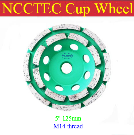 [M14 thread] 5'' NCCTEC diamond grinding CUP wheel (5 pieces per lot) | 125mm Concrete grinding disc  | double row head disk 4 inch 6 inch straight cup diamond grinding wheel for glass edger straight line double edging beveling machine m009