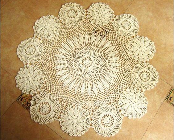 Country Crochet Table Runner 100% Cotton Crochet Table Cloth Lace Table  Runner White Beige(