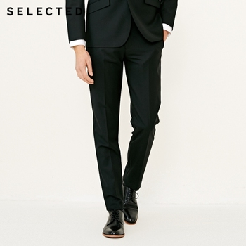 SELECTED Men's Wool-blend Slim Fit Pure Color Suit Pants T|41816B502 Men's Suit Pants