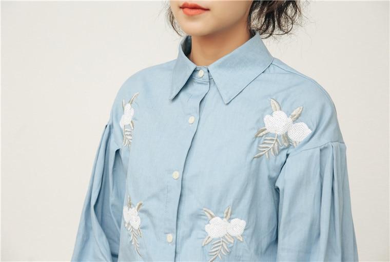 Haftowany kwiat rękawy typu lampion koszula dżinsowa koszule  8v4o9