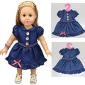 "1 piece jean dress for 18"" 45cm American girl jean skirt for baby doll clothes for alexander doll dress"