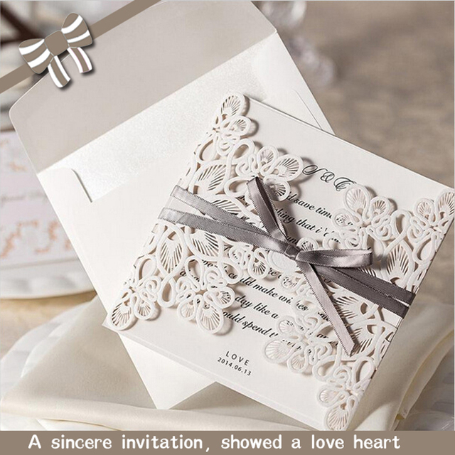 50wedding Invitations Bow Foldable Korean Wedding Invitation Letter