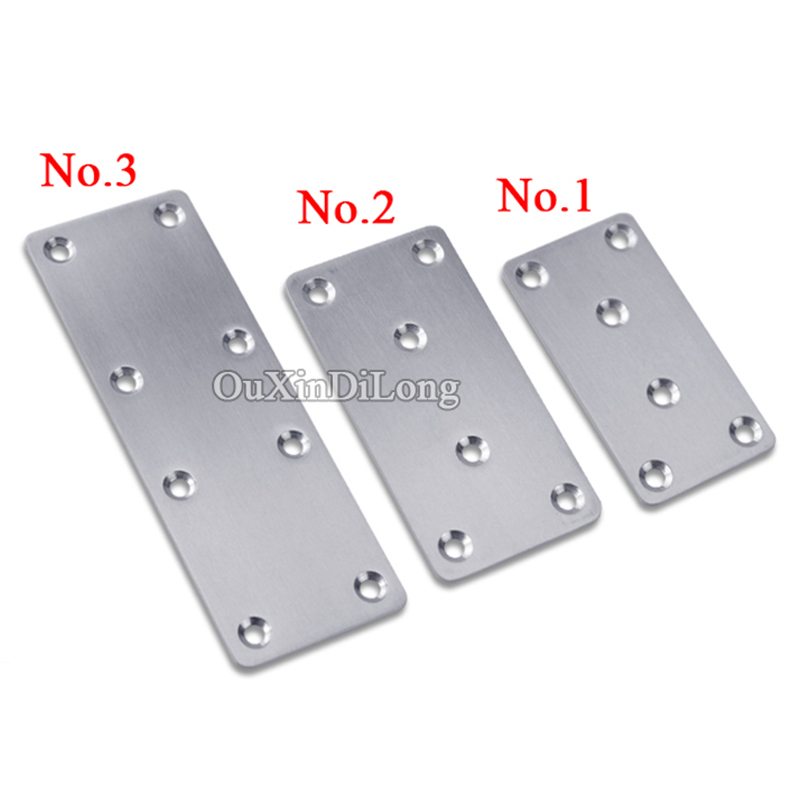 High Quality 200PCS Stainless Steel Flat Corner Brace Plate Shelf Bracket Connector Furniture Repair Fixing Joining Accessories 35cm aa shelf rails stainless steel support slot plate glass wooden board partition bracket holder shelf accessories