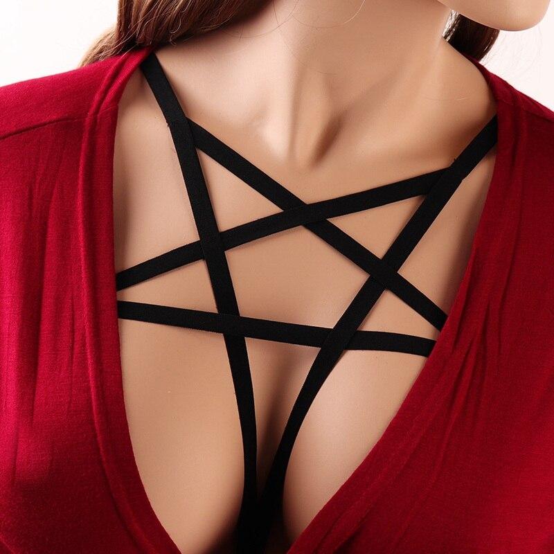 Pentagram Belt Strappy Bra Harness Women For Lingerie Harajuku Gothic Crop Top Cage Body Sexy Adjustable Bralette Festival Rave