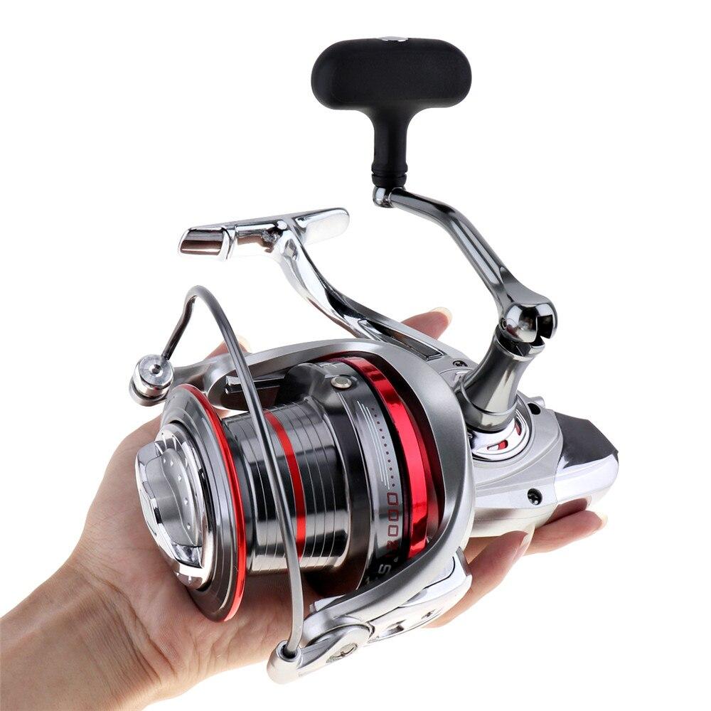 Ventes Full Metal Spinning Reel Fishing 12000 Série 14 + 1 Roulements À Billes Longue Distance Surfcasting Roue avec Plus Grande Bobine