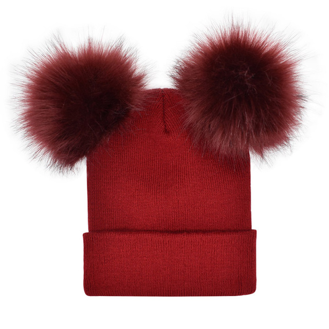 AWAYTR Fur Ball Cap 2 Pom Poms Winter Hat for Women Girl 's Wool Hat Knitted Cotton Beanies Cap Brand New Thick Female Cap