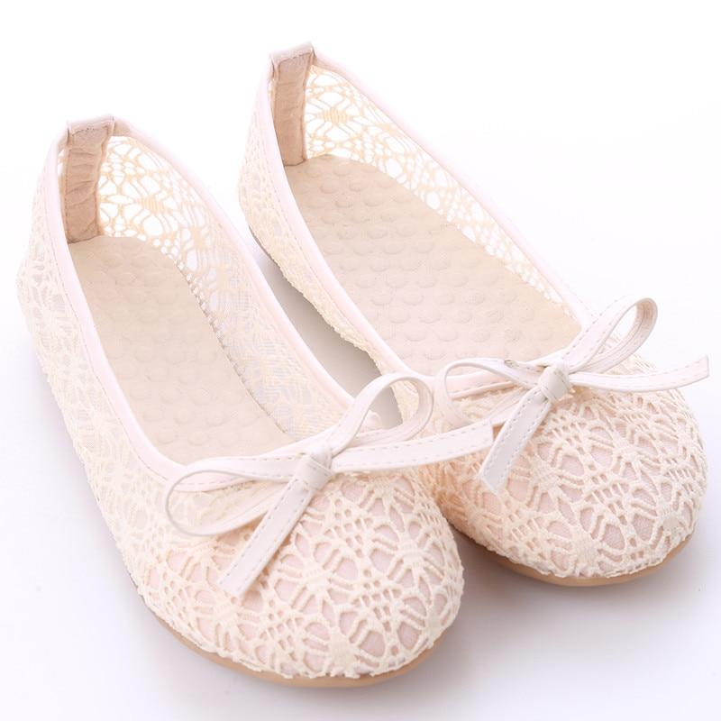 Женская обувь на плоской подошве; Новинка года; летние кружевные туфли с закрытым носком; женские дышащие сандалии; кружевные сетчатые балетки на плоской подошве; Милые сабо с бантом - Цвет: apricot