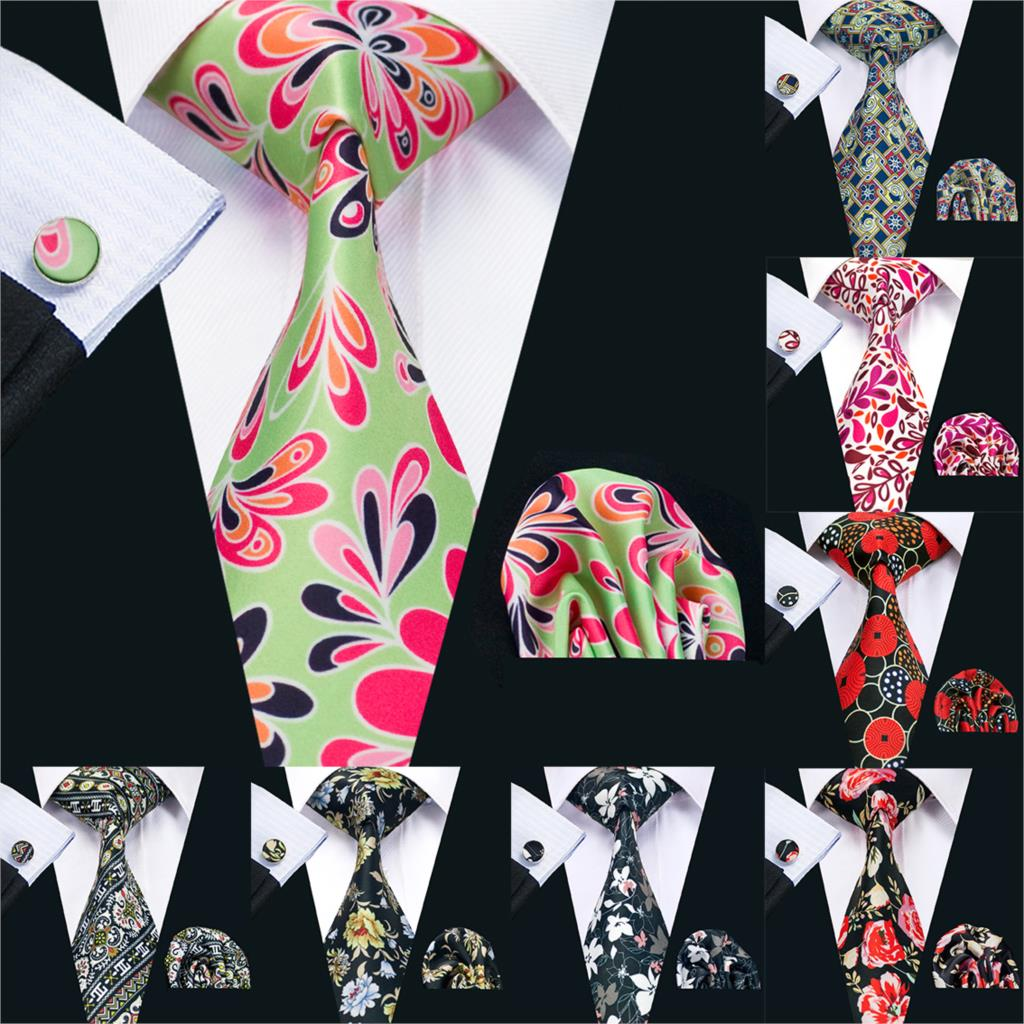2019 Barry.Wang 20 Colors 8.5cm Print Paisley Necktie Hanky Cufflinks Set Green Silk Ties For Men Wedding Party Business PS-20