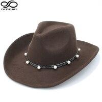 INFINITLOVE Men Women Cool Wool Felt Vintage Pearl Leather Ribbon Hondo Crown Anallergisch Adjustable Strap Cowboy
