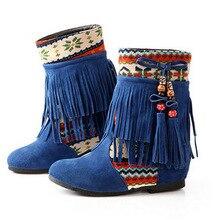 2016ใหม่ขนาดใหญ่ขนาด35-43แฟชั่นสตรีพู่ข้อเท้าบู๊ทส์ในฤดูใบไม้ร่วงฤดูหนาวโบฮีเมียบูตสบายๆรองเท้าZ Apatos Mujer b ooties O1650