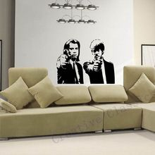 Free Shipping Banksy Jules and Vincent Pulp Fiction Movie Wall Art Decal Decor Mural Sticker Vinyl Poster