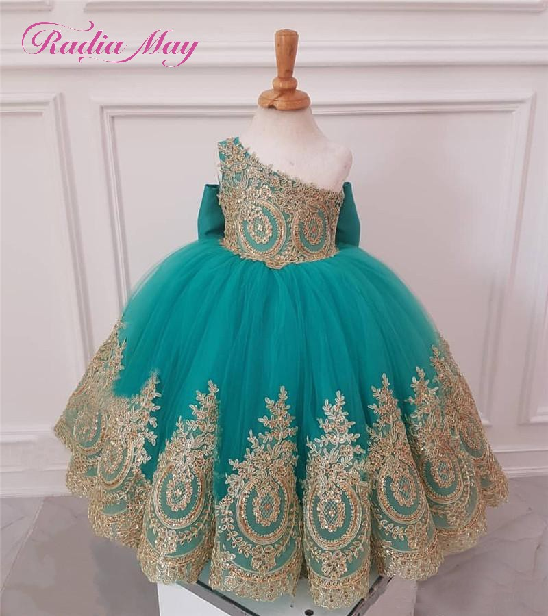 d9252f9ba Turquoise Blue Tulle Flower Girl Dresses Gold Lace Applique One ...