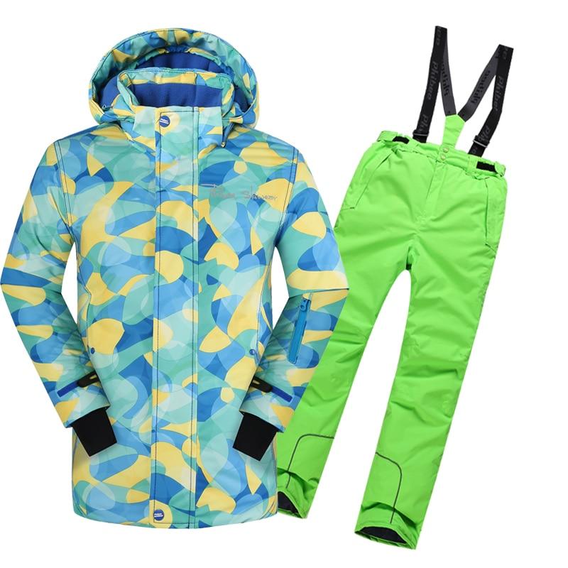 Winter Clothing Set for Girls  Coat +Overalls Suits Warm Windproof Snowsuit Toddler Children Ski Suit for boys winter suits for boys girls 2017 boys ski suit children clothing set baby duck down jacket coat overalls warm kids snowsuit