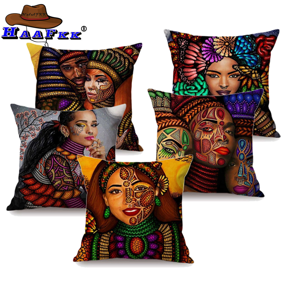 Colorful African Queen Girl Face Art Painting Decorative Sofa Throw Pillow  Case Cotton Linen Exotic Ethnic Style Cushion Cover b79c9e14f