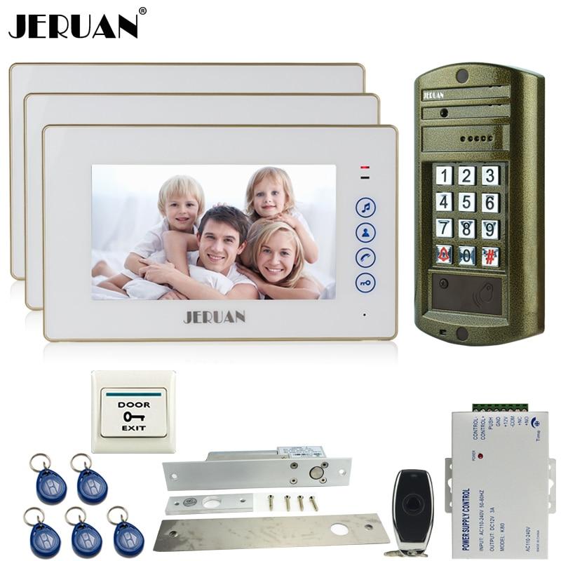 JERUAN Новый Металл водонепроницаемый пароль HD Mini Камера + 7 ''сенсорный ключ телефон видео домофон Системы комплект + электрический падения дом