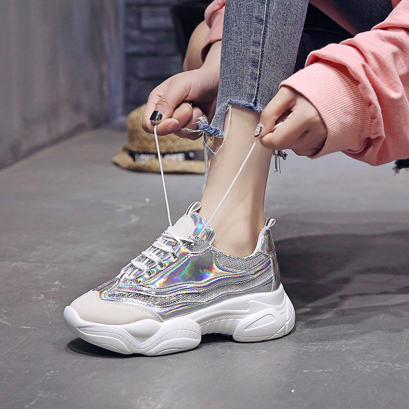 2019 Fashion Sneakers Women Basket Silver Soft Sole Colorful Sports Woman Shoes Chunky Trainers Lady Wedges Sneakers Cross Strap
