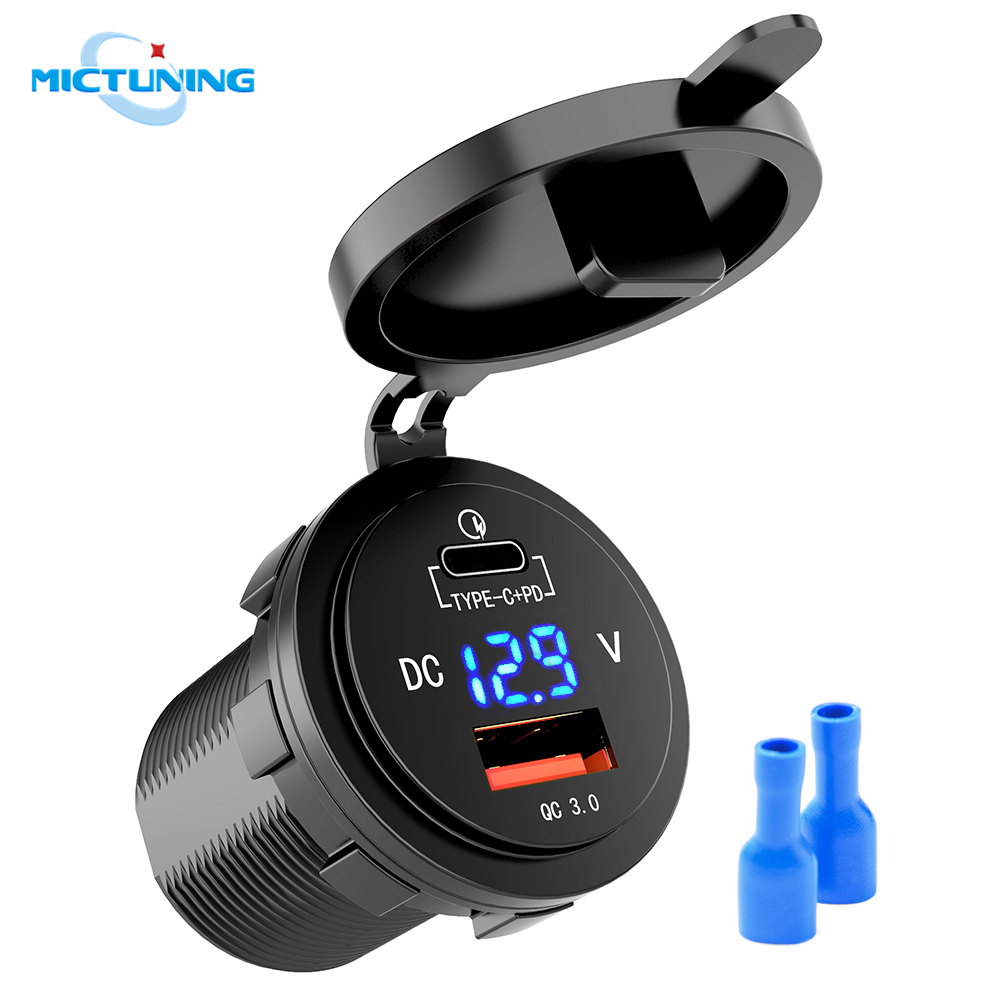 MICTUNING 36W Fast PD USB-C Car Charger USB Quick Charge PD QC3.0 Type C Socket W/ LED Digital Voltmeter Universal Power Outlet