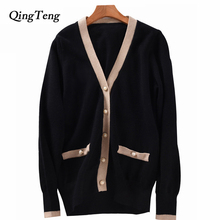 Winter Knit Cardigan Sweater Women Luxury Runway Button Design Cashmere Wool Blend Color Block Knitwear Jumpers Coat Female