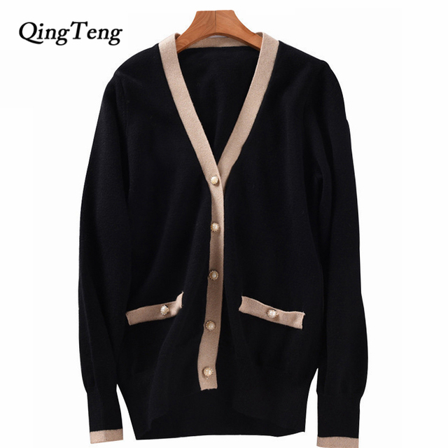 01e0d91c3852 Winter Knit Cardigan Sweater Women Luxury Runway Button Design Cashmere Wool  Blend Color Block Knitwear Jumpers Coat Female
