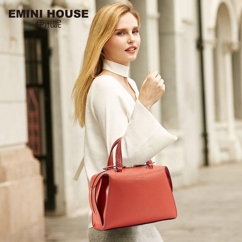 EMINI HOUSE Split Leather Women Handbags Messenger Bags Knitted Ladies Hand Bag Shoulder Bag Female Crossbody